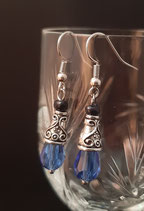 Rok&Billie Oorbellen - blauw druppel facet