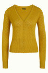 King Louie Cardi V Heart Ajour - Curry Yellow