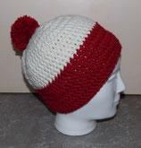 Hatnut Mütze XL55 weiss/bordeaux mit Bommel