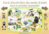 Pack  d'activités du mois d'Août