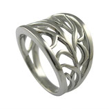 RH433 Edelstahl Ring Blattmuster