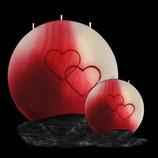 Vollmond Kerze rot / pink mit Herz