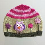 """Mütze """"Eule"""", grün / rosa / pink"""