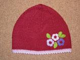 "Mütze ""Blumentrio"", bordeaux rot mit rosa Rand"