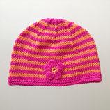 """Mütze """"Miniblume"""", orange / pink geringelt"""