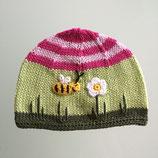 "Mütze ""Biene"", grüne / rosa / pink"