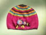 """Mütze """"Eulenduo"""", pink mit bunten Ringeln"""