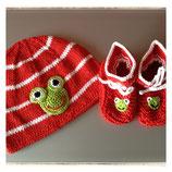 "Babyset Mütze & Schuhe ""Frosch"""