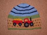 """Mütze """"Traktor mit Anhänger"""", braun / grün / blau"""