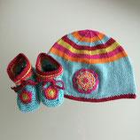 "Babyset Mütze & Schuhe ""Kunterbunt"""