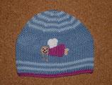 """Mütze """"Schutzengel"""", blau mit pinkem Rand"""