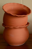 Flower Pot with Fluted Rim