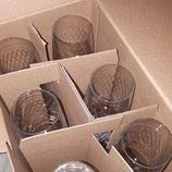 Weingläser, gerippt, 6 Stück, im Karton