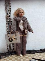 Pantalon, haut, veste et sac à main pour Barbie ronde