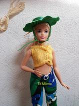 Pantalon, top et chapeau pour poupée Barbie ronde