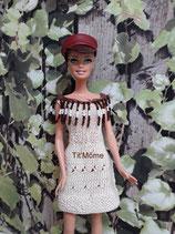 Robe en fil de coton avec empiècement perles pour poupée Barbie