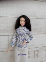 Pantalon et chemisier assorti pour poupée Barbie