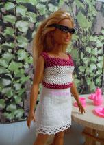 Jupe en coton et haut pour poupée Barbie ronde
