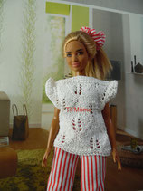 Pantalon rayé et haut blanc pour Barbie ronde