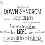 Bügelbild - Down-Syndrom ist eine Expedition - Einfarbig