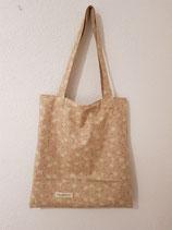 Baumwolltragtasche Beige gemustert
