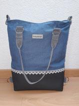 3 in 1 Tasche Leinen Blau/Antrazit mit Spitzen