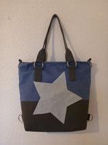 3 in 1 Tasche klein Leinen Blau/Antrazit mit Stern