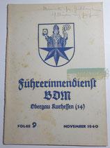 Heft - Führerinnendienst BDM und JM Folge 9 November 1940