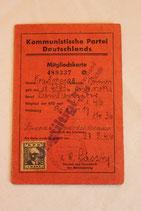 Mitgliedskarte Kommunistische Partei Deutschlands