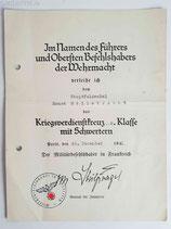 Urkunde - Kriegsverdienstkreuz 2. Kl. m. S. OU Stülpnagel