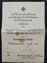 Urkunde - Eisernen Kreuz 2. Klasse mit Verleihungsbegründung