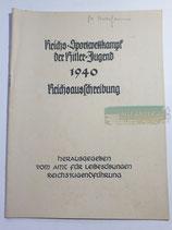 Heft - Reichssportwettkampf der Hitlerjugend 1940 Reichsausschreibung