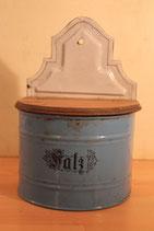 Emaille - Vorratsgefäß Salz mit Holzdeckel