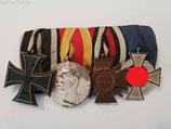 Ordensspange - 4er mit Verdienstmedaille Baden & TDA 25 J.