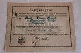 Urkunde - Verdienstkreuz für Kriegshilfe (Minenwerfer)