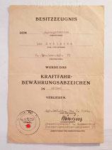 Urkunde - Kraftfahrbewährungsabzeichen Silber