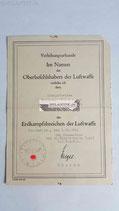 Urkunde - Erdkampfabzeichen der Luftwaffe