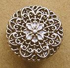 Bouton métal argenté vernis, plat 15 mm