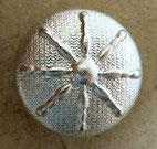 Bouton métal argenté clair satiné, bombé 18  mm