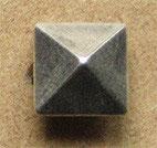 Bouton métal argenté satiné, pyramidal 14 mm