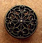 Bouton métal ajouré vieux bronze, 13 mm