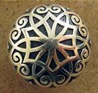 Bouton métal argenté, ciselé 15 mm