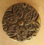 Bouton métal vieux bronze, plat 23 mm