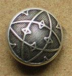 Bouton métal argenté, bombé 15 mm