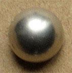 Bouton métal argenté satiné, demi-boule 15 mm