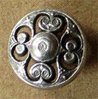 Bouton métal argenté satiné, bombé 19 mm