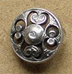 Bouton métal argenté satiné, bombé 15 mm