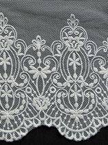 Dentelle coton brodé sur tulle, H 15 cm