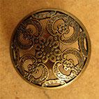 Bouton métal vieux bronze, bombé 18 mm