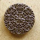 Bouton métal argenté vernis, plat 19 mm